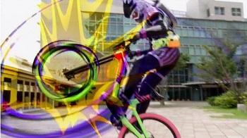 黒いエグゼイドの自転車アクション!