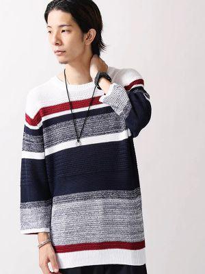 WEGO/ランダムボーダー7分袖ニットTシャツ
