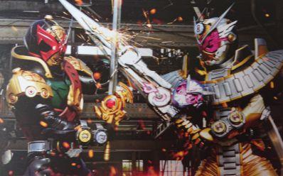 『仮面ライダージオウ』映画のチラシにジオウ オーマフォームVS仮面ライダーバールクス!この武器は!ソウゴがオーマジオウと…!